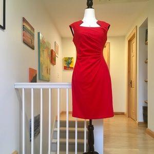 Stunning Calvin Klein Red waist gathered dress.